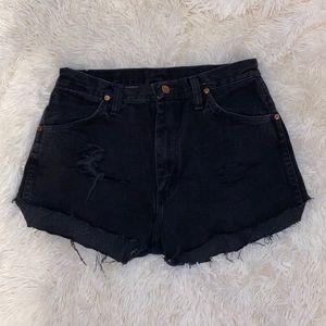 High waisted vintage distressed wrangler shorts